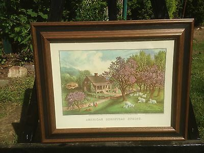 Vintage Currier and Ives American Homestead Spring Lithograph Print In Frame