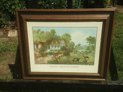 Vintage Currier and Ives American Homestead Summer Lithograph Print In Frame