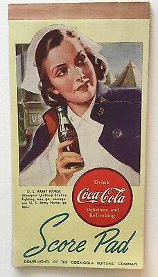 Vintage Wwii Army Nurse Bridge Score Pad Coca-Cola Young Woman Uniform
