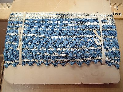36 Yds Antique Victorian Bobbin lace Trim,Weddings,Dolls,Dress Blue & White 1/2""