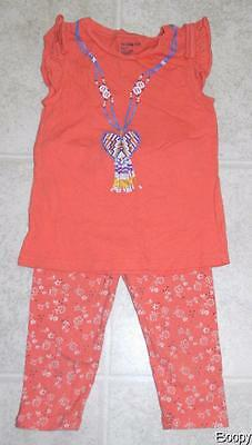 Baby Gap girls size 5T sleeveless coral shirt and floral leggings pants outfit