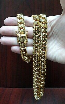"26"" 14K Gold Finish Sterling Silver Miami Cuban Link Chain, 13 mm 230 grams"