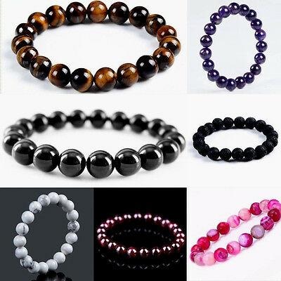 Men Ladies Women Natural 10mm Gemstone Wrap Beaded Chakra Healing Reiki Bracelet