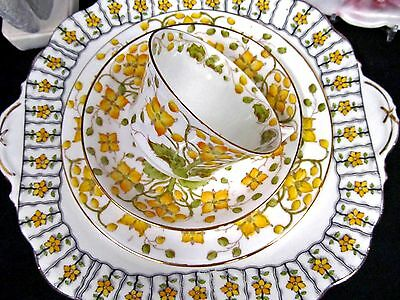 Adderley Tea Cup And Saucer Trio & Aynsley Cake Plate Yellow Floral Teacup