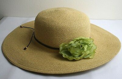 0c851f04860f0 Women s Floppy Wide Brim 100% Paper Straw Sun Hat With Green Flower   Brown  Cord