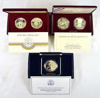 Lot of 3 US Mint 1984 1995 2002 Commemorative Olympic Silver Coin Sets w/ COAs
