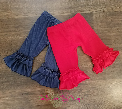 Girl's Double Ruffle Capri, Red & Dark Denim Colors, Size 18 Month, 2T, & 3T
