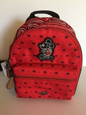 Disney X Coach Mickey Nylon Mini Charlie Bright Red Black Backpack New with Tags