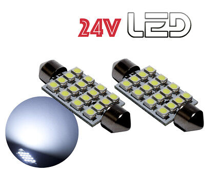 2 Ampoules 24V navette LED Blanc 41mm C10W Camion RENAULT VOLVO DAF TRUCK SCANIA