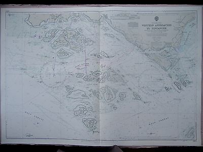 "1970 Western Approaches to SINGAPORE - Nautical Sea Map Chart 28"" x 41"" C65"