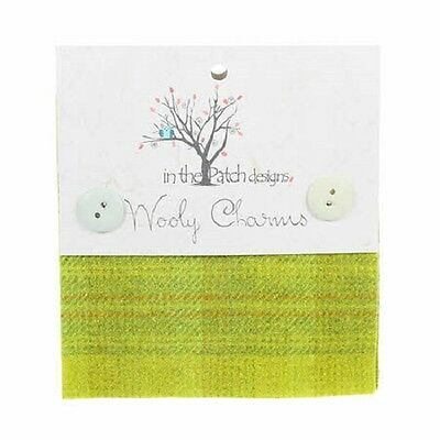 """Yellow Green Hand Dyed Wool - 5ea 5""""x5"""" Wooly Charms WC4514"""