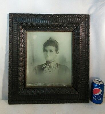 "Vtg Antique Victorian Wood Chalk Flower Frame 12""x10"" picture FAMILY PORTRAIT​"