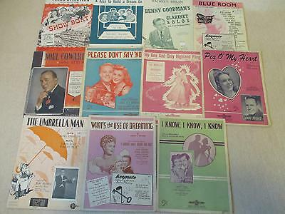 SHEET MUSIC BULK LOT / 1940s / BENNY GOODMAN, MARIO LANZA, NOEL COWARD ETC