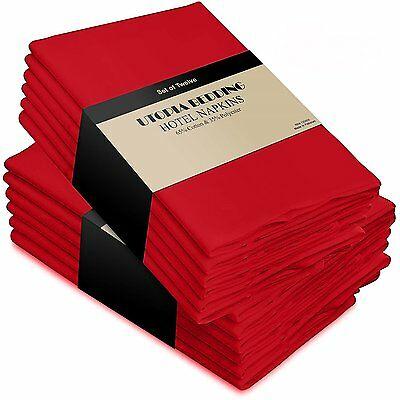 """Cotton Dinner Napkins Red Soft Comfortable Luxury Party Table 18""""x18"""" 12 Pack"""