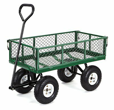 Garden Cart Wagon Wheelbarrow Poly Pull Dump Removable Sides Steel Mesh Bed