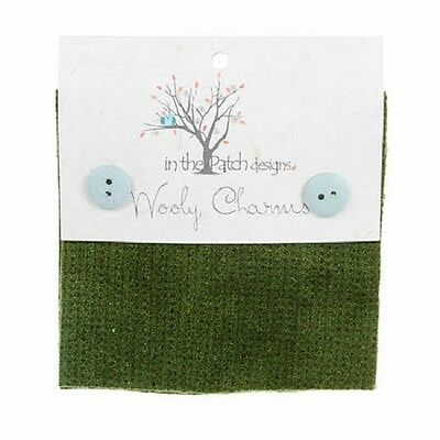 """Avocado Green Hand Dyed Wool - 5ea 5""""x5"""" Wooly Charms WC5708"""