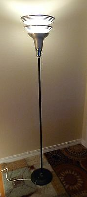 VINTAGE ART DECO TORCHIERE FLOOR LAMP  GILBERT ROHDE Style Machine age