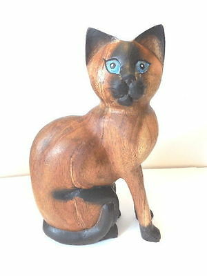 Cat Sculpture - Siamese Cat Sculpture - Nicely Carved & Finished! - SALE!