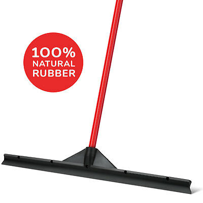 "Long Floor Squeegee Black 24"" / 60 CM Solid Natural Rubber Blade, Heavy Duty"