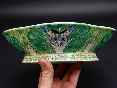 Antique  Chinese Cabbage Leaf Porcelain  Footed Serving Bowl Dish  Signed. 10.5""