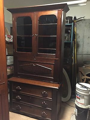 Late 1800's Walnut and Burl Bookcase/ Secretary approximately 84""