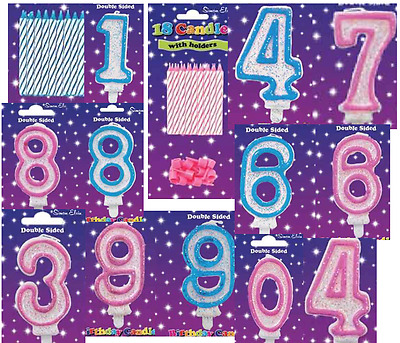 Birthday Candle Pink Blue AGES Number MILESTONE 1 2 3 4 5 6 7 8 9 0