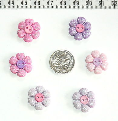 Novelty Button Embellishments Quilting Sewing Princess Petals Flowers #325