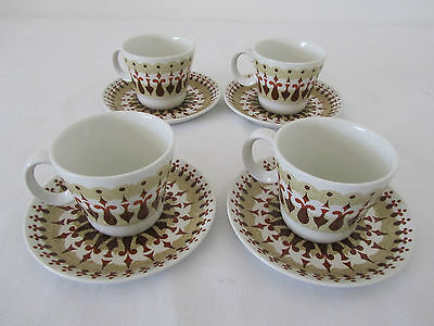 4x Retro Vintage WOODS & SONS Cups & Saucers Duos England