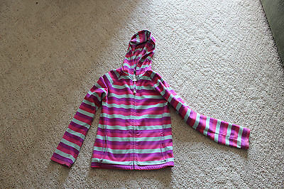 North Face Girls Hooded Striped Fleece Full Zip Youth Size M Medium (10/12) LOOK