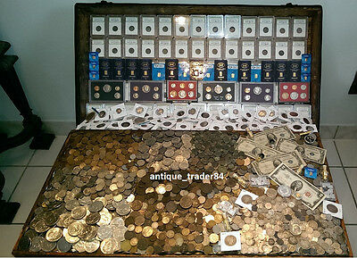 ☆ 100 Coin Lot From Old Estate Hoard! ☆ Old US & World Coins GOLD SILVER Roman ☆