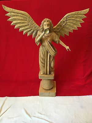 Hand Carved 29.5' Wooden Angel With Trumpet From Phillippines