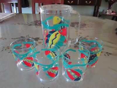 2Ltr Plastic Water Jug With Lid & 4 Matching Glasses