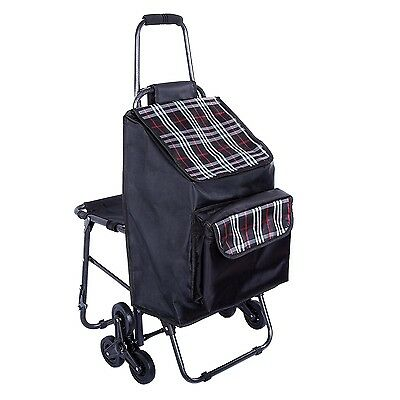 Multipurpose Lightweight Wheeled Shopping Trolley with Front Cooler Bag and C...