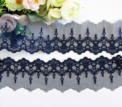 6.5 cm width Navy Embroidery Mesh Lace Trim