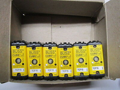 Lot of 6 Buss TCF15 Cube Fuses, 15 Amp, NEW