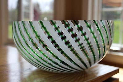 ANTIQUE HAND MADE GLASS ART BOWL Green White Swirl Stripes 8""