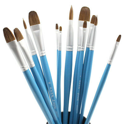 6pcs Pure Sable Wolf Hair Artist Paint Brushes Filbert Watercolor Brushes Set