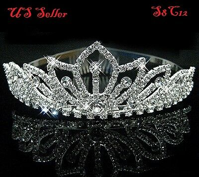 Bridal Princess Crystal Hair Tiara Wedding Crown Veil Headband Birthday S8C12