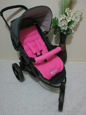 Stroller/pram liner set,universal,100% cotton fabric-Pink-reversible
