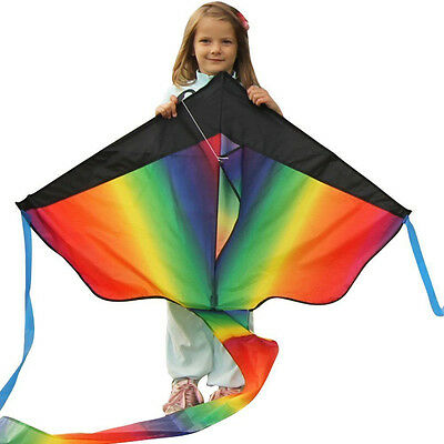 Huge Rainbow Kite +100M Twisted String Line Kids Outdoor Fun Games Activities