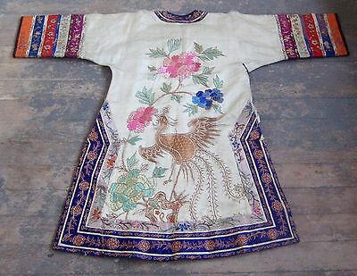 antique qing dynasty embroidered jade blue silk crane dragon chinese robe