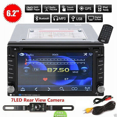 "2017 Bluetooth 6.2"" Double 2DIN Car Radio Stereo DVD Player GPS Navigation + Cam"