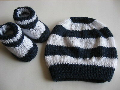 Hand knitted 'Footy Colours Geelong' baby booties & hat to fit 0-3 months