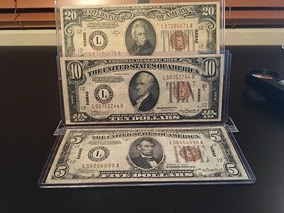 1934A $20, $10 And $5 Hawaii Overprint Wwii Brown Seal  Federal Reserve Notes