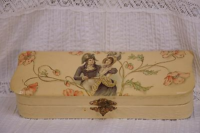 19th Century Victorian (1800's) Hand Painted Celluloid Box