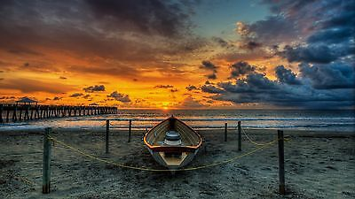 Beach sunset sea with nice background Quality wall  Art poster Choose your Size