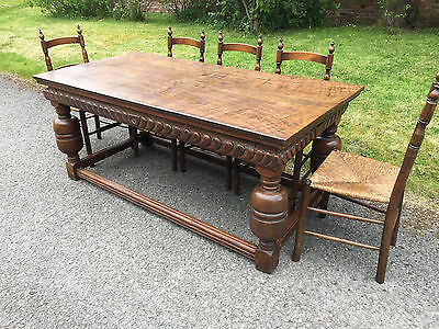 Antique Victorian 16th Century Style Two Plank Oak Refectory Table Dining Table.