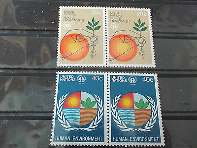 Série 2 paires 2 timbres neuf ONU New York 1982 : Environnement humain
