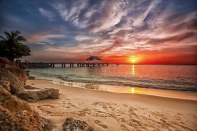 Beach  beautiful piers nature Quality wall  Art poster Choose your Size