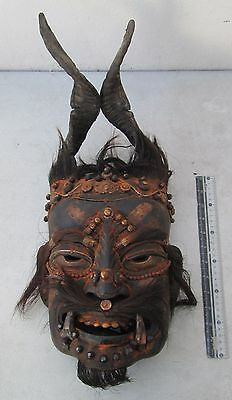 SCARY! Old Tharu Bodhi Tree Wood & Yak Hair Revese Shaman Exorcism Mask XL